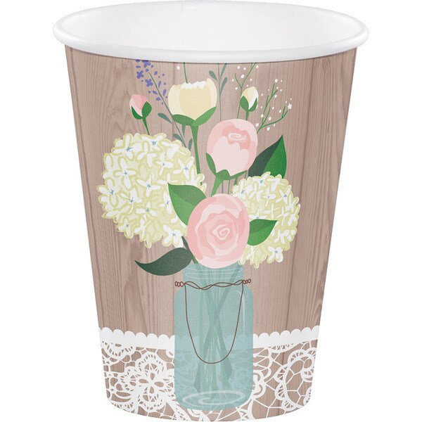 Rustic Wedding 12-ounce Cups (Case of 12 packages of 8) 23818981