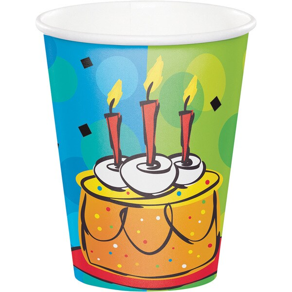 Cake Celebration 8-pack 9-ounce Disposable Paper Cups (Case of 12) 23819228