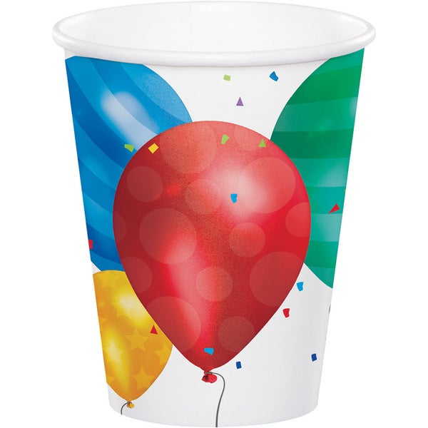 Balloon Blast Multicolored Disposable 9-ounce Cups (Case of 12 Packages of 8) 23819257