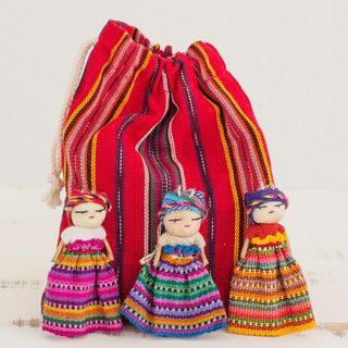 Set of 12 Handmade Cotton 'Worry Doll Dancers' Figurines (Guatemala)