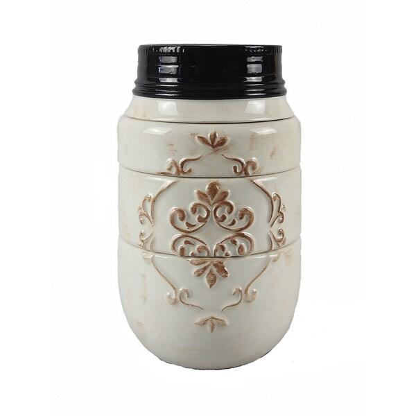 Mason Jar White Ceramic 4-piece Stacking Measuring Cups 23826670