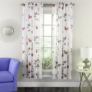 Butterflies Semi-sheer 63-inch Tailored Window Curtain Panel - 63x54