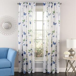 Butterflies Semi-sheer 84-inch Tailored Window Curtain Panel - 84x54