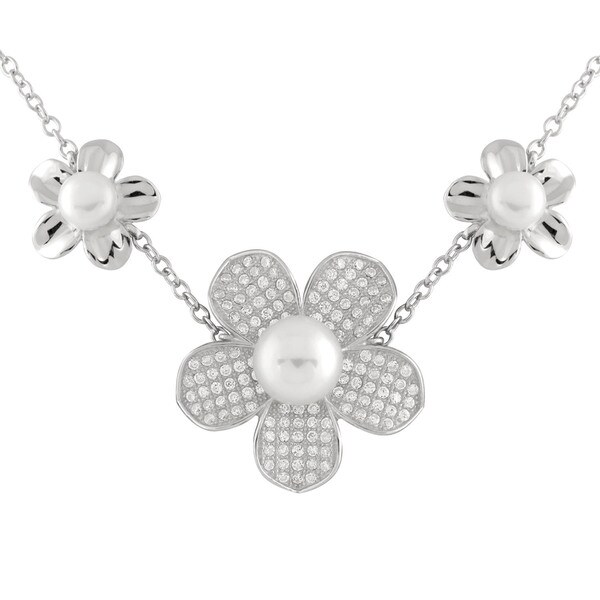 Micropave Cubic Zirconia Flower Pearl Necklace 23834099