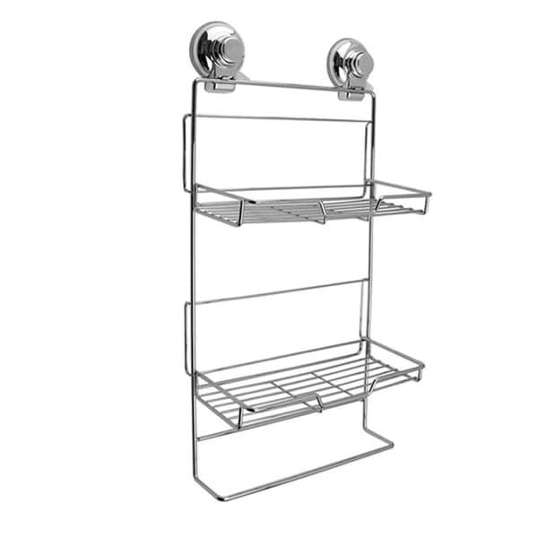 Push To Lock Stainless Steel & Chrome Double Rack Shampoo Basket 23834648