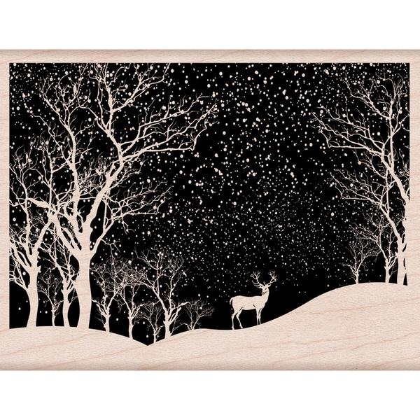 Hero Arts Mounted Rubber Stamp 4.25X3.25-Snowy Scene 23842835