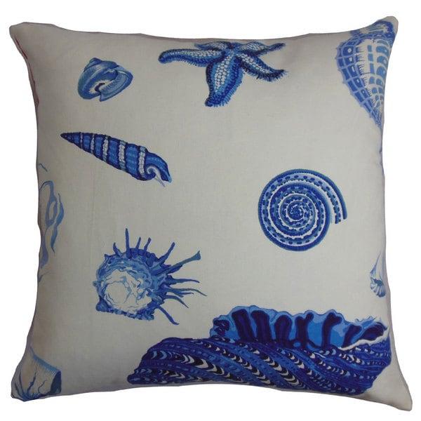 "Rayen Coastal 22"" x 22"" Down Feather Throw Pillow Natural Blue 23846578"