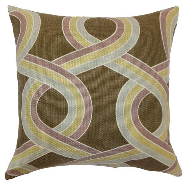 """Malva Geometric 22"""" x 22"""" Down Feather Throw Pillow Hazelnut 23846760"""