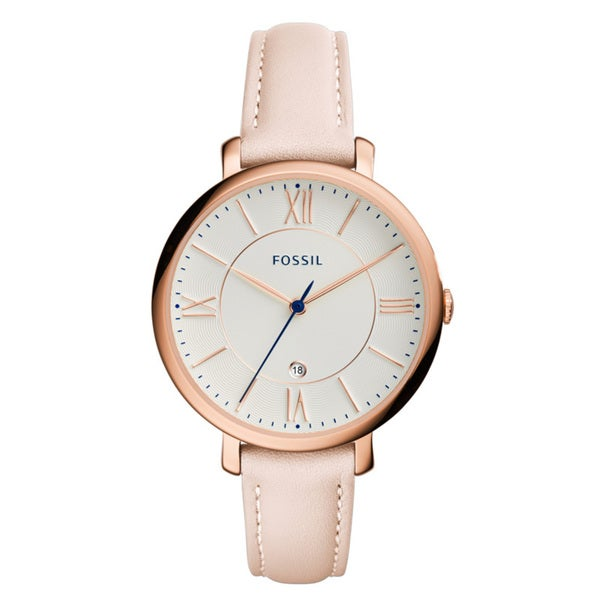 Fossil Women's ES3988 Jacqueline White Dial Blush Leather Watch 23849020