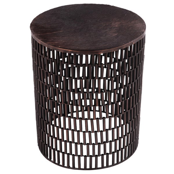 BULLET Bronze Metal Table with Brown Cow Hide Covered Top 23849904