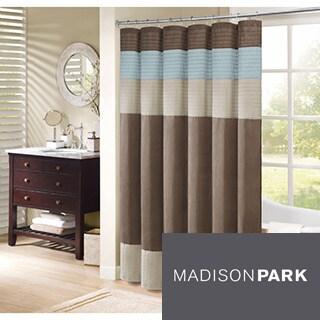 Madison Park Trinity Pieced Faux Silk Shower Curtain