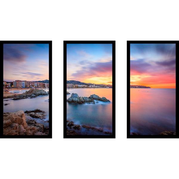 """Sunset over Lloret de Mar, Catalonia, Spain"" Framed Plexiglass Wall Art Set of 3 23861103"