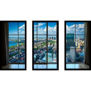Back Bay, in Boston, Massachusetts Window' Framed Plexiglass Wall Art (Set of 3)