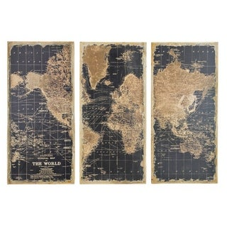 """Stanford World Map Wall Decor (Pack of 3) - 48""""H x 22""""W x 2""""D"""