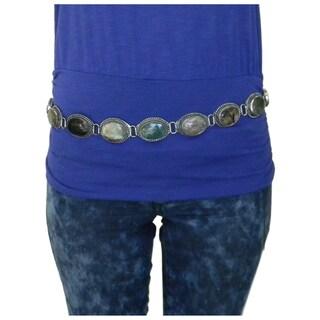 Women's Handmade Casual Adjustable Oval Multicolor Agate Belt (India)