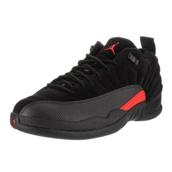 Nike Jordan Men's Air Jordan 12 Retro Black Leather Low Basketball Shoe 23867765