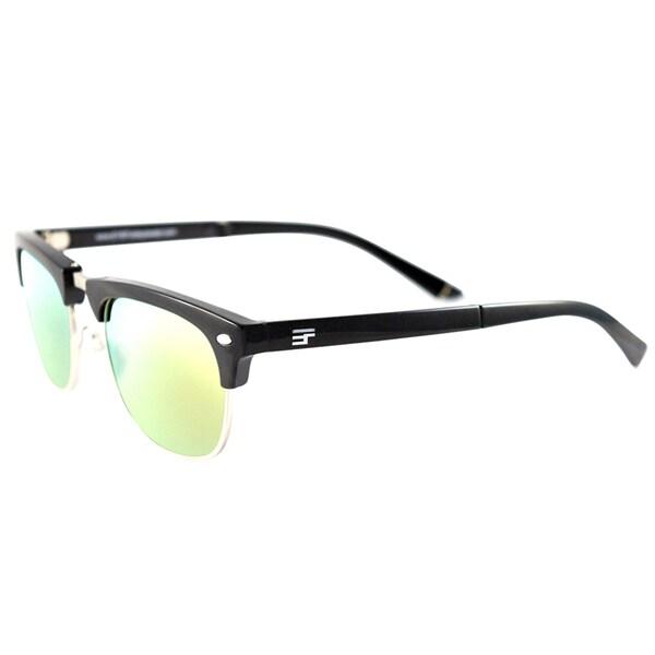 EYEFolds Country Club Foldable Gloss Black Silver Plastic Fashion Sunglasses Yellow Mirror Lens 23884005