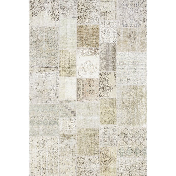 Pasargad Vintage Turkish Patchwork Hand-knotted Beige Lamb's Wool Area Rug (6'7 x 9'9) 23884274