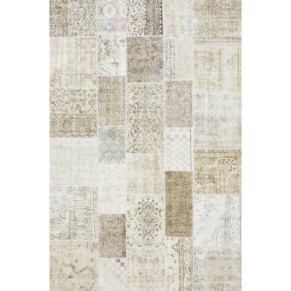 Pasargad Beige Lamb's Wool Vintage Turkish Patchwork Hand-knotted Rug ( 6' 7 X 9'10) 23884275