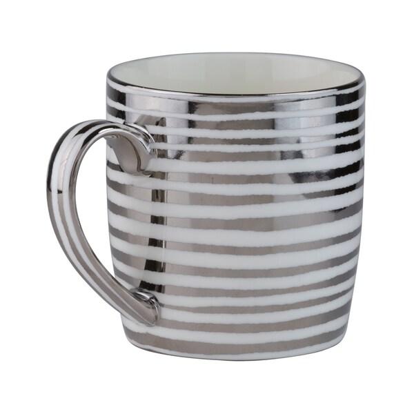 Vail Silver Stripes Porcelain Mug (Pack of 4) 23884278