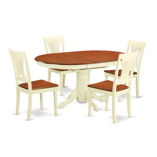 buttermilk and cherry finish dining table and chairs set 23884692