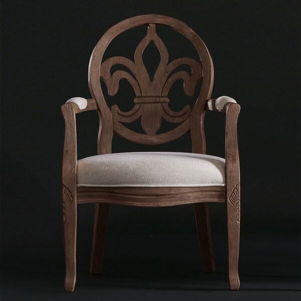 Fleur de Lis Cinnamon Roast/Cream Linen Arm Chair 23885359