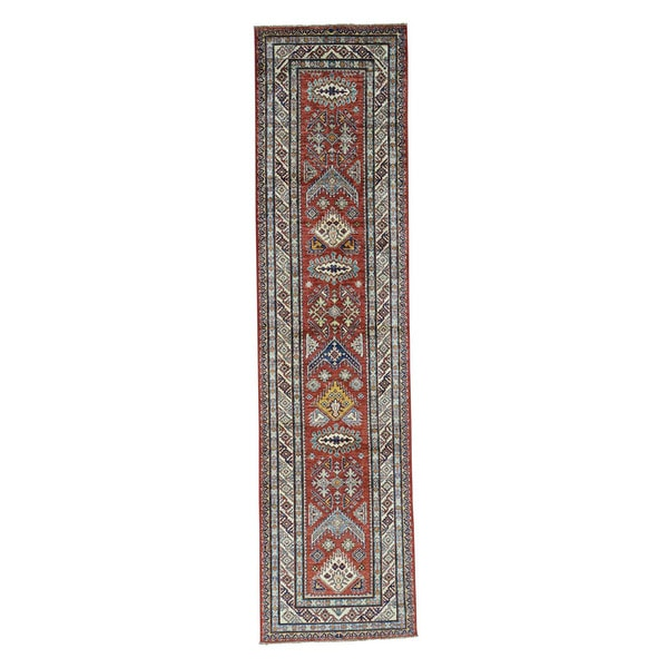 1800getarug Hand-Knotted Pure Wool Red Super Kazak Oriental Runner Rug (2'6 x 10'6) 23885607