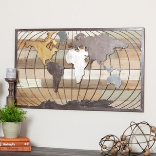 "Marco World Map Wall Decor - 24""H x 39.5""W x 1""D"