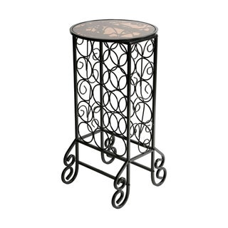 Glass-topped Black Iron Scrollwork Wine Table