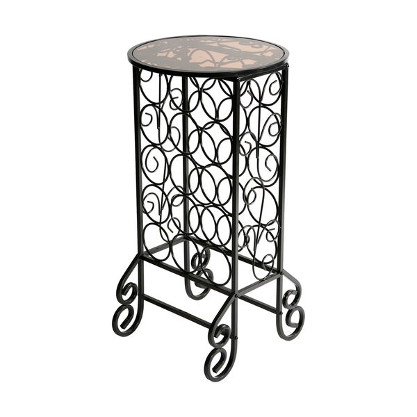 Harper Blvd Glass-topped Black Iron Scrollwork Wine Table