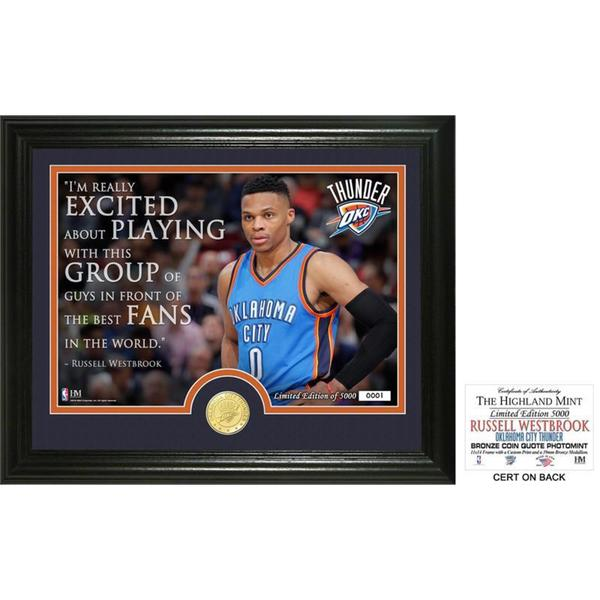 "Russell Westbrook ""Quote"" Bronze Coin Photo Mint 23930882"