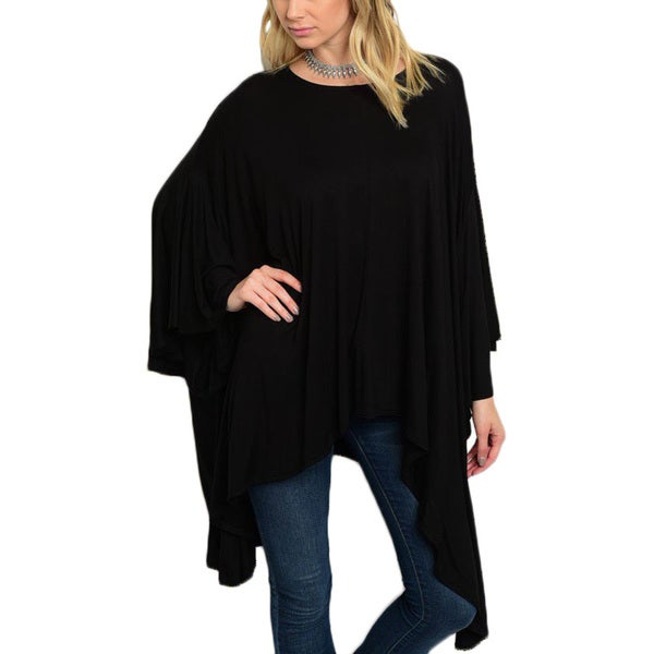 JED Women's Black Rayon and Spandex Batwing-sleeve Loose-fit Asymmetrical Tunic 23933138