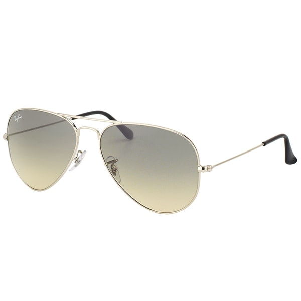 Ray Ban RB 3025 Classic Aviator 003/32 Shiny Silver Metal Sunglasses with Grey Gradient Lens 58mm 23946979