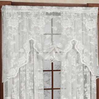 Rose Floral Pattern High Gauge Lace Window Swag - 38x55