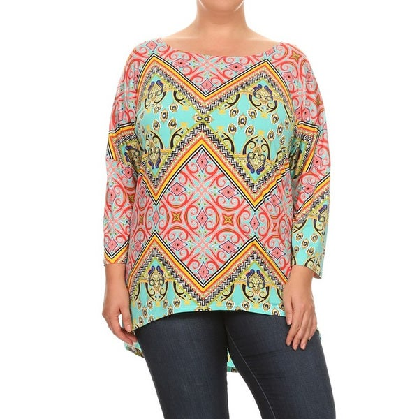 Women's Plus Size Mixed Geometric Pattern Top 23993199