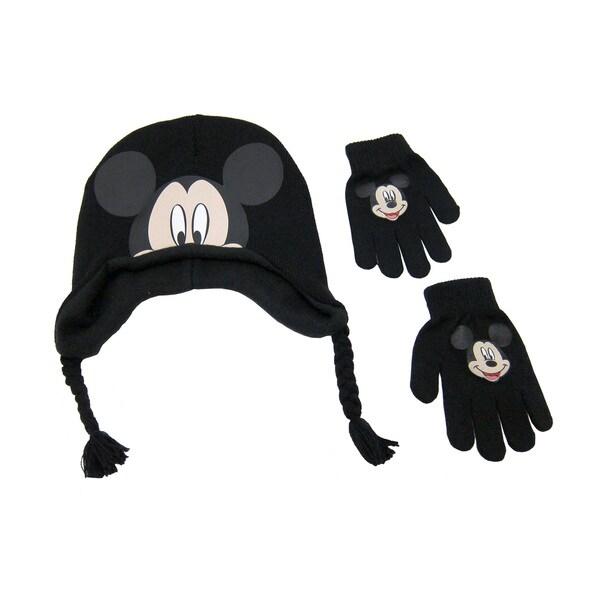 Disney Men's Mickey Black Acrylic Peruvian Beanie and Gloves Set 23994582