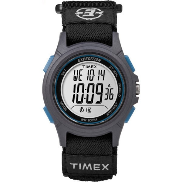 Timex Men's TW4B10100 Expedition Digital CAT Black, Grey and Blue Fast Wrap Velco Strap Watch 24008214