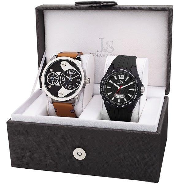 Joshua & Sons Men's Multifunction Dual Time Tachymeter Date Wheel Black & Tan Strap Watch Set 24008253