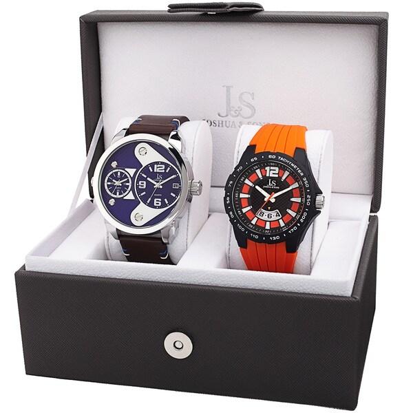 Joshua & Sons Men's Multifunction Dual Time Tachymeter Date Wheel Silver-Tone & Orange Strap Watch Set 24008255