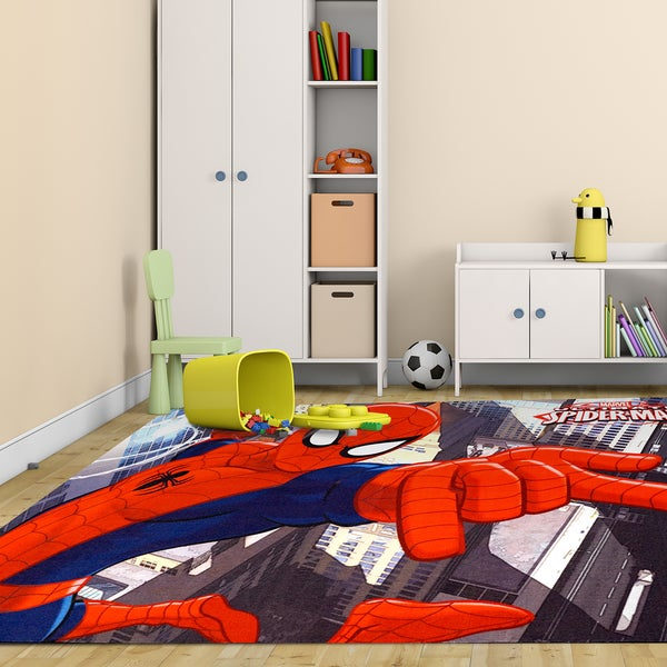 "Marvel Spiderman Multicolor Polyester Kids Rug by Gertmenian (5'4"" x 7'4"") 24009141"