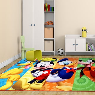 Disney Mickey Mouse Multicolor Printed Polyester Kids Area Rug by Gertmenian (4'6 x 6'6) - 4' x 6'/Surplus1