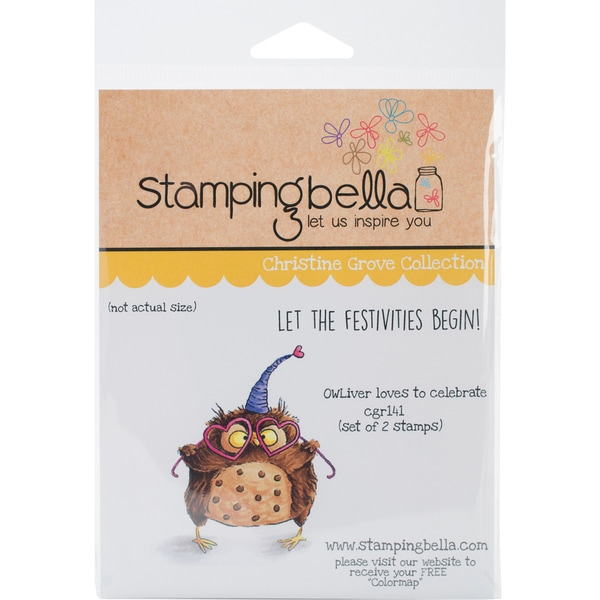Stamping Bella Cling Stamp 6.5X4.5-Owliver Loves To Celebrate 24010750