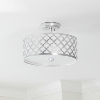 """Safavieh Lighting Kora Quatrefoil Silver LED 3-light Flush Mount - 15"""" x 15"""" x 10.5"""""""
