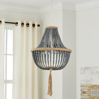 "Safavieh Lighting Kristi 3-light Grey Adjustable Beaded Pendant Lamp - 16.5""x16.5""x29.75- 111.75"""