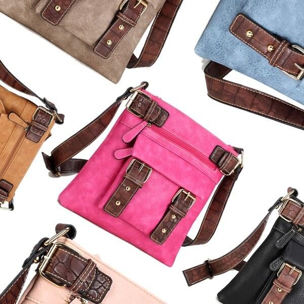 "Dasein Soft Faux Leather Decorative Front Belt Messenger Bag with 46-inch Shoulder Strap - 46"" strap 24015299"