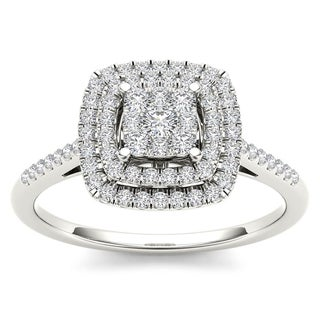De Couer IGI Certified 1/4ct TDW Diamond Cluster Ring - White