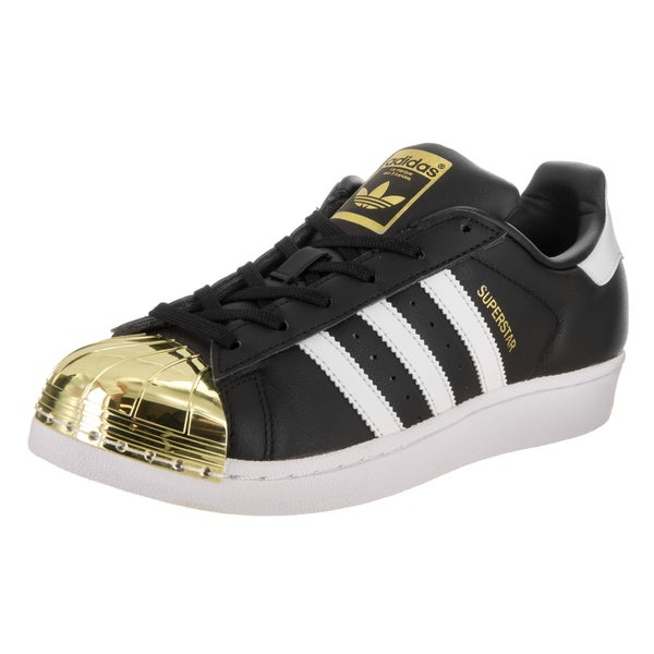 Adidas Women's Superstar Metal Toe Originals Black Synthetic Leather Basketball Shoes 24056457