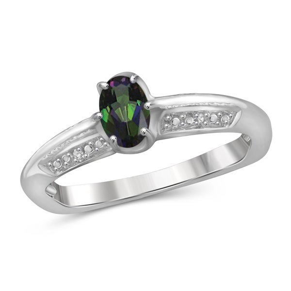 Jewelonfire Sterling Silver 1/2ct TW Mystic Topaz and White Diamond Accent Ring 24057092