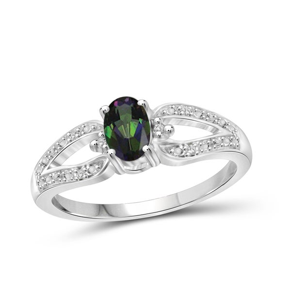 Jewelonfire Sterling Silver 1/2ct TW Mystic Topaz and White Diamond Accent Ring 24057122