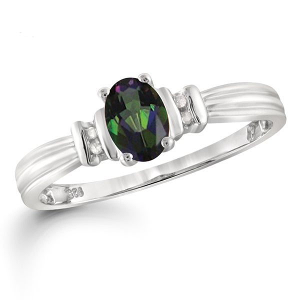 Jewelonfire Sterling Silver 1/2ct TW Mystic Topaz and White Diamond Accent Ring 24057232